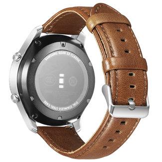 Merk 123watches Huawei watch GT genuine leren band - lichtbruin