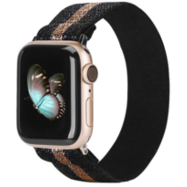 123Watches Apple Watch nylon band - or noir
