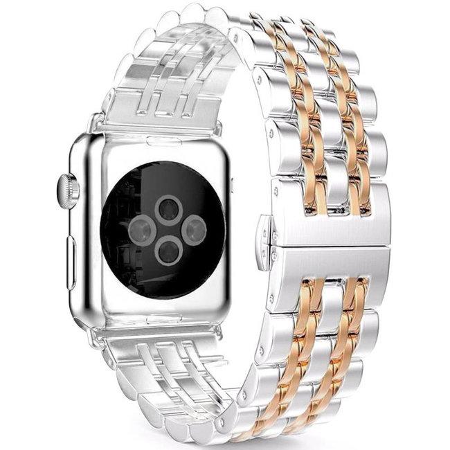Merk 123watches Apple watch rvs schakel band - zilver rose goud