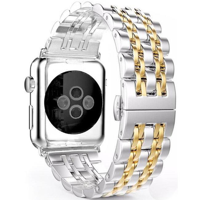 Merk 123watches Apple watch rvs schakel band - zilver goud