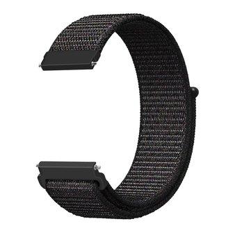 Merk 123watches Garmin Vivoactive / Vivomove nylon sport band - zwart mix