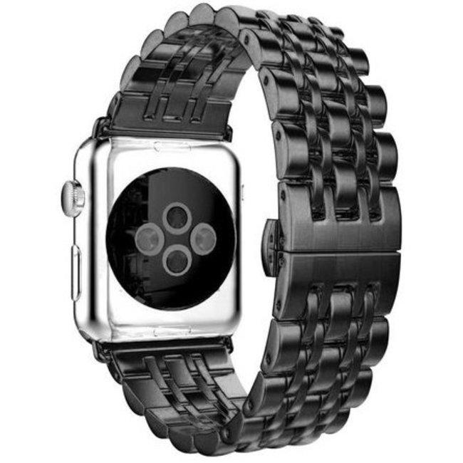 Merk 123watches Apple watch rvs schakel band - zwart