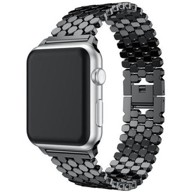 Apple watch vis stalen schakel band - zwart