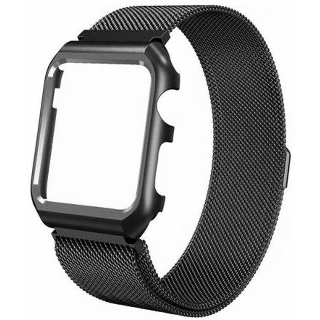 Merk 123watches Apple watch milanese case band - zwart