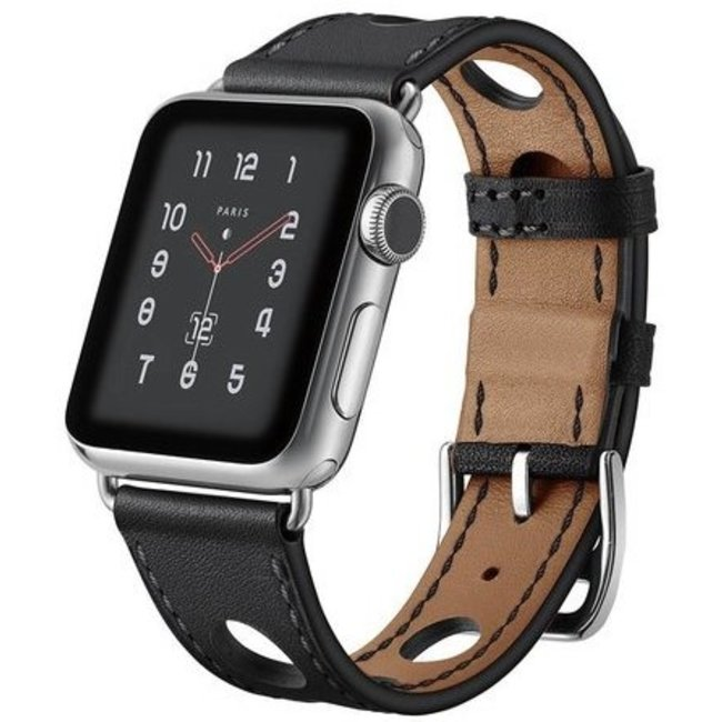 Apple watch leather hermes band - black
