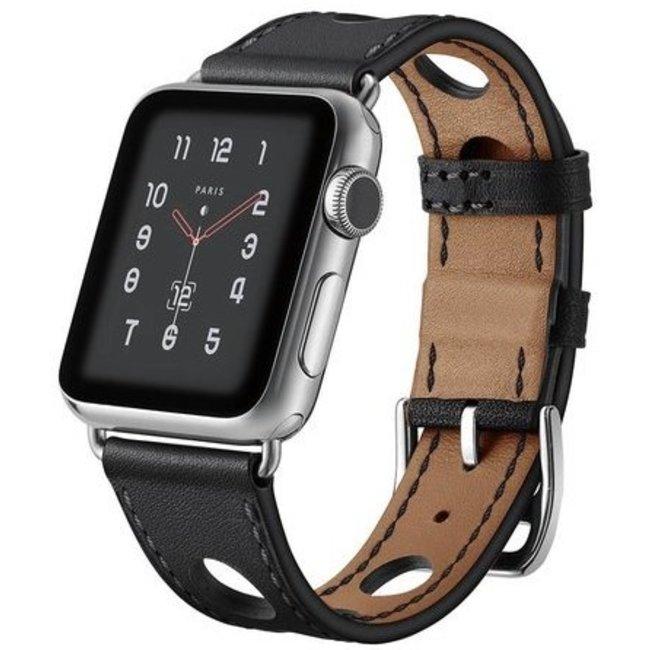 Merk 123watches Apple watch leren hermes band - zwart