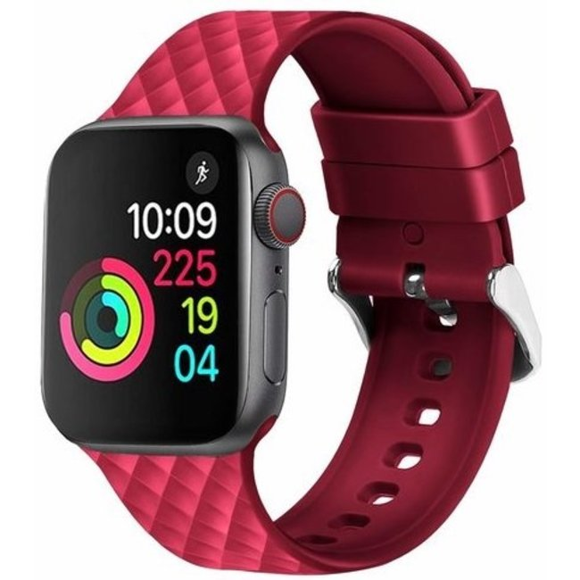 123Watches Apple watch rhombic silicone band - red