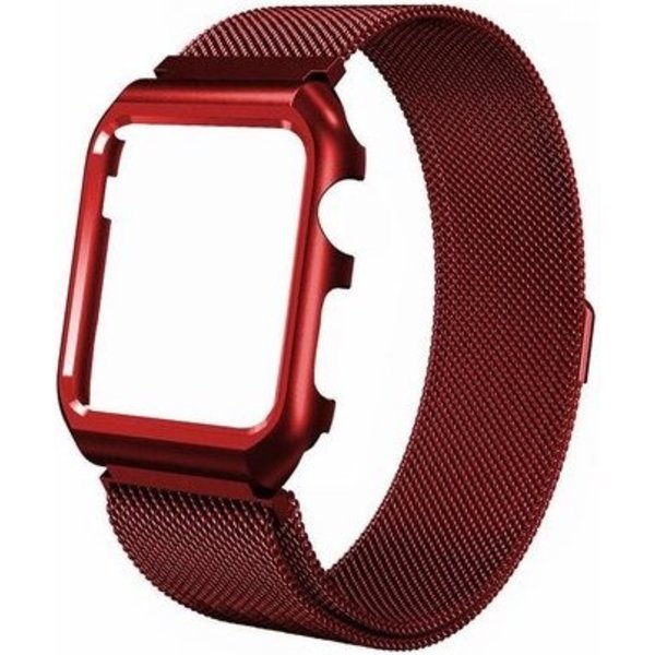 123Watches Apple watch milanese case band - rouge