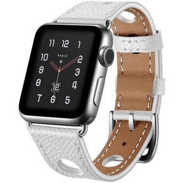123Watches Apple watch leren hermes band - wit
