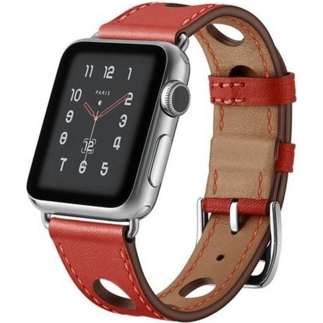 Merk 123watches Apple watch leather hermes band - red