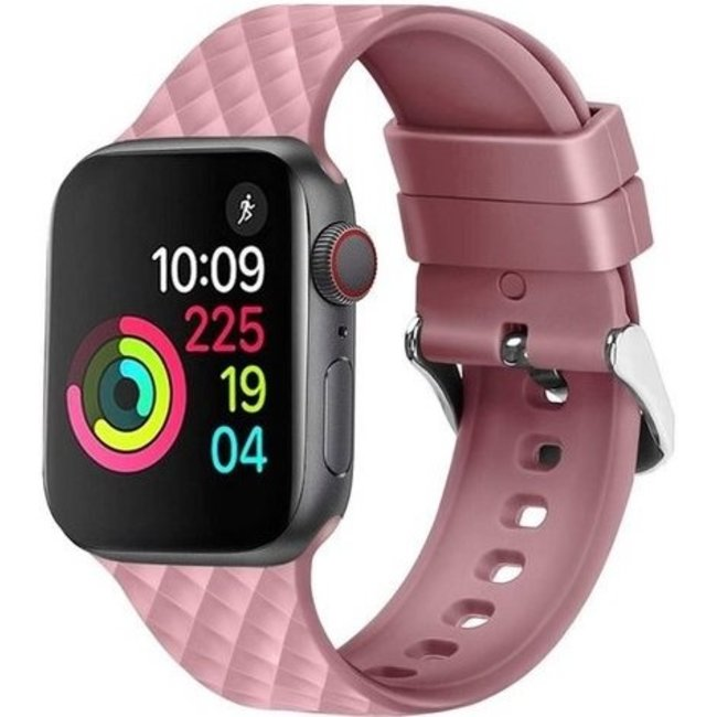 Apple watch rhombic silicone band - roze