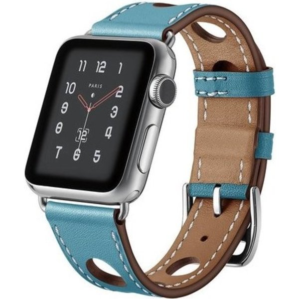 123Watches Apple watch leather hermes band - light blue