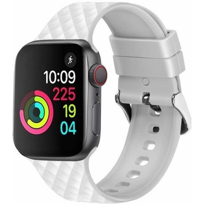 Merk 123watches Apple watch rhombic silicone band - white