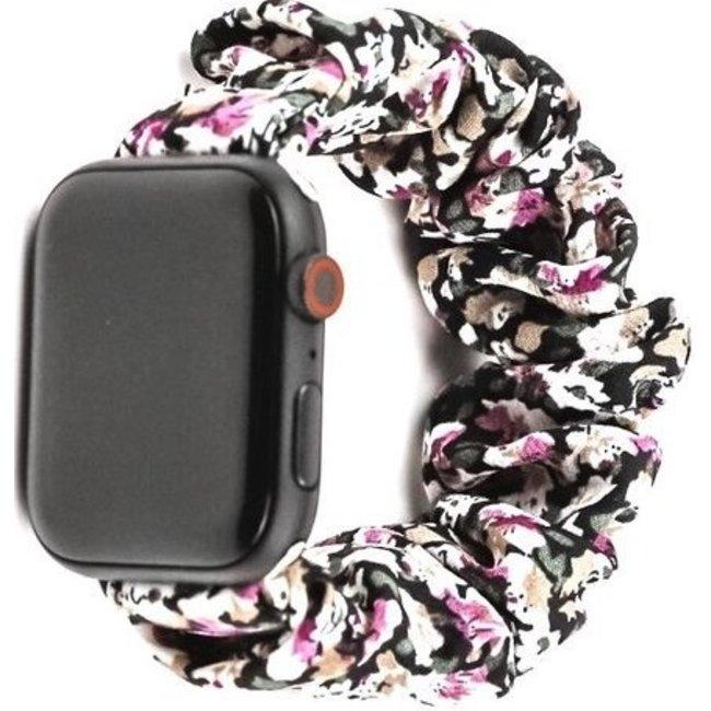 Apple watch scrunchie band - bloemen paars