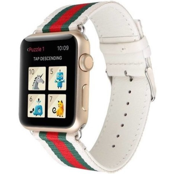 123Watches Apple watch nylon double face band - wit