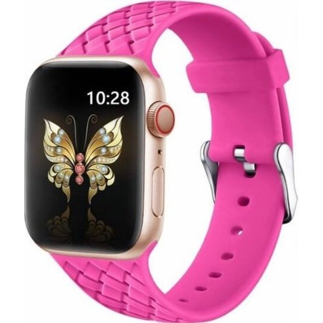 123Watches Apple watch woven silicone band - roze