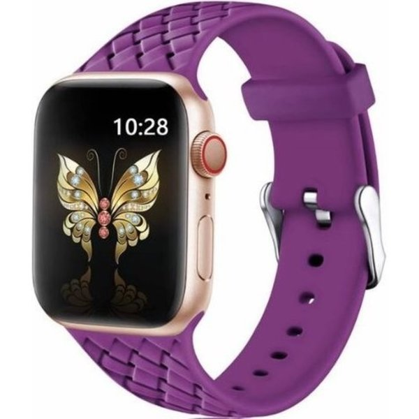 123Watches Apple watch woven silicone band - paars