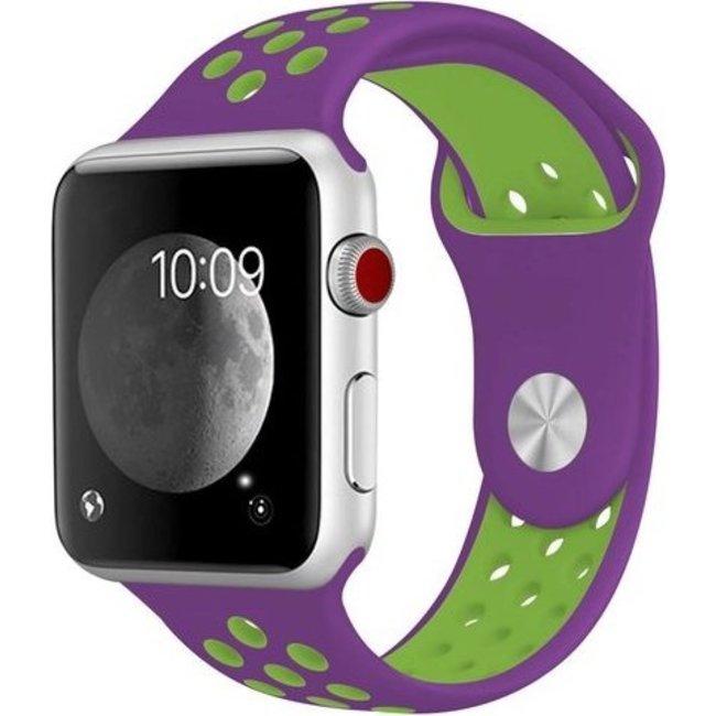 Merk 123watches Apple watch dubbel sport bandje - paars groen
