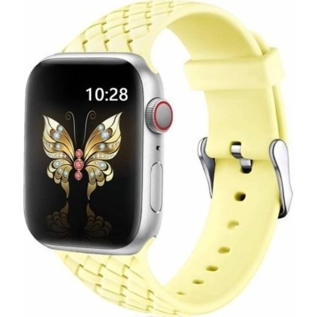 123Watches Apple watch woven silicone band - geel