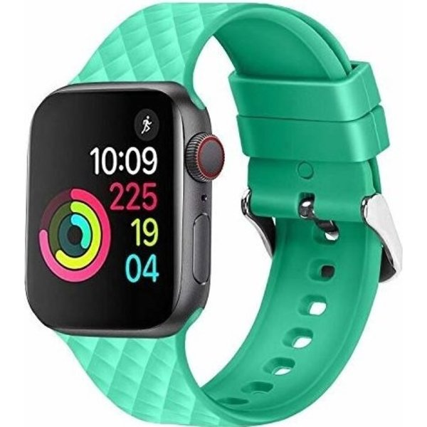 123Watches Apple watch rhombic silicone band - groen