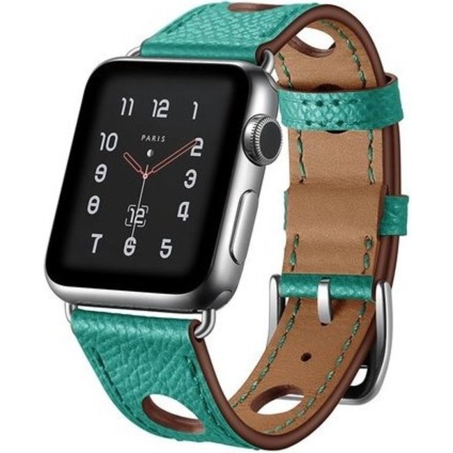 Merk 123watches Apple watch leather hermes band - green