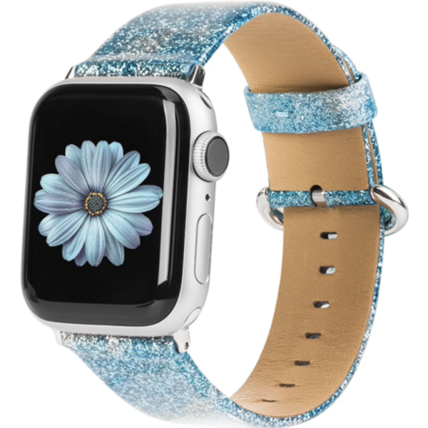 123Watches Apple watch leather glitter strap - blue