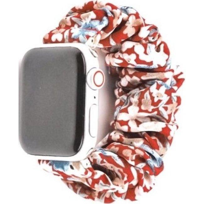 123Watches Apple watch scrunchie band - bloemen rood