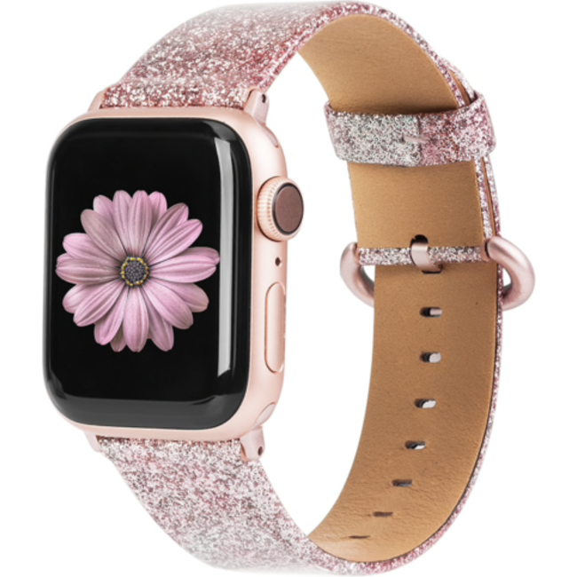 Apple watch leren glitter band - roze