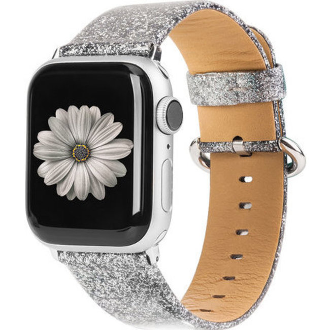 Apple watch leren glitter band - zilver