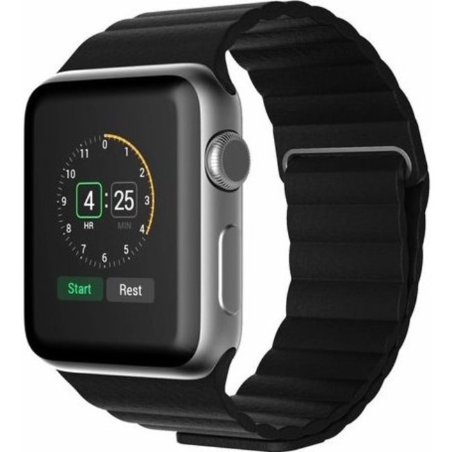 Merk 123watches Apple watch PU leather ribbed band - black