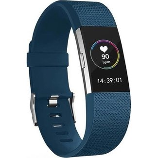 Merk 123watches Fitbit charge 2 sport band - donkerblauw