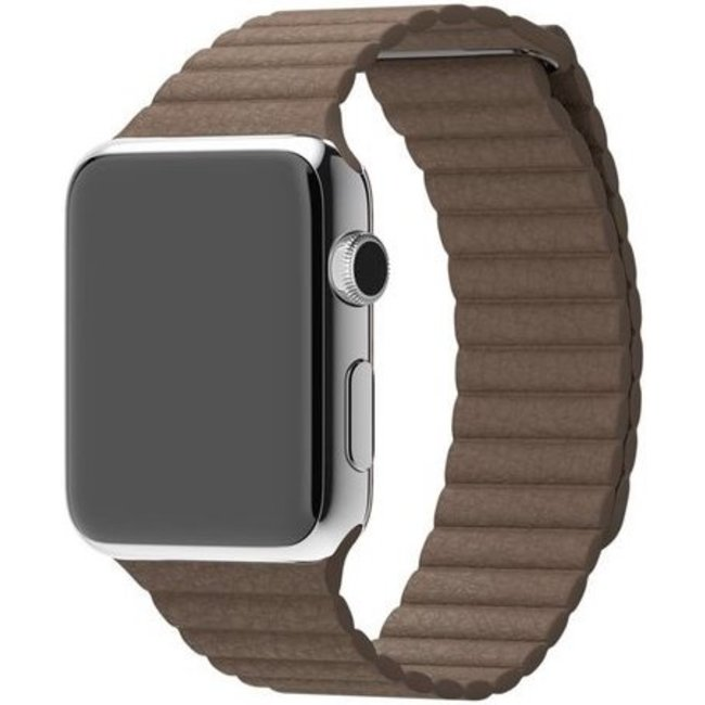 Apple watch PU leather ribbed band - brown