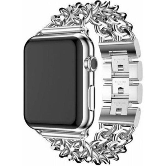 Merk 123watches Apple watch stalen cowboy schakel band - zilver