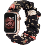 123Watches Apple watch scrunchie band - bloemen zwart