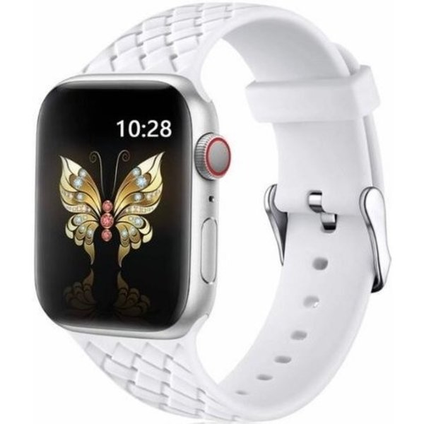 123Watches Apple Watch woven silicone sangle - blanc