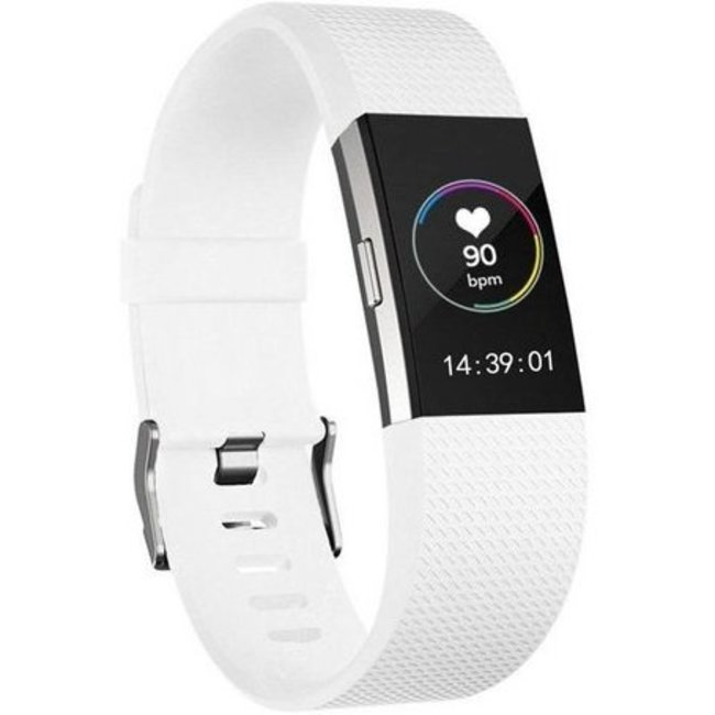Merk 123watches Fitbit charge 2 sport band - wit