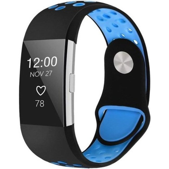 Merk 123watches Fitbit charge 2 sport band - black blue
