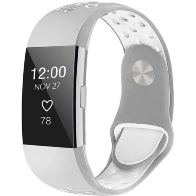 Merk 123watches Fitbit charge 2 sport band - grijs wit