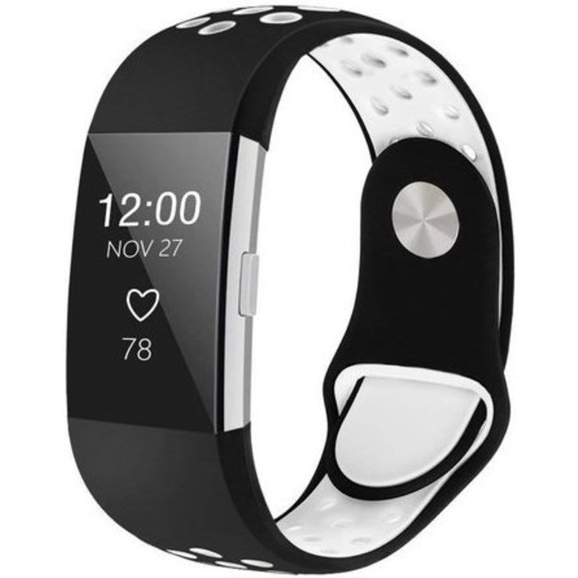 Merk 123watches Fitbit charge 2 sport band - black white