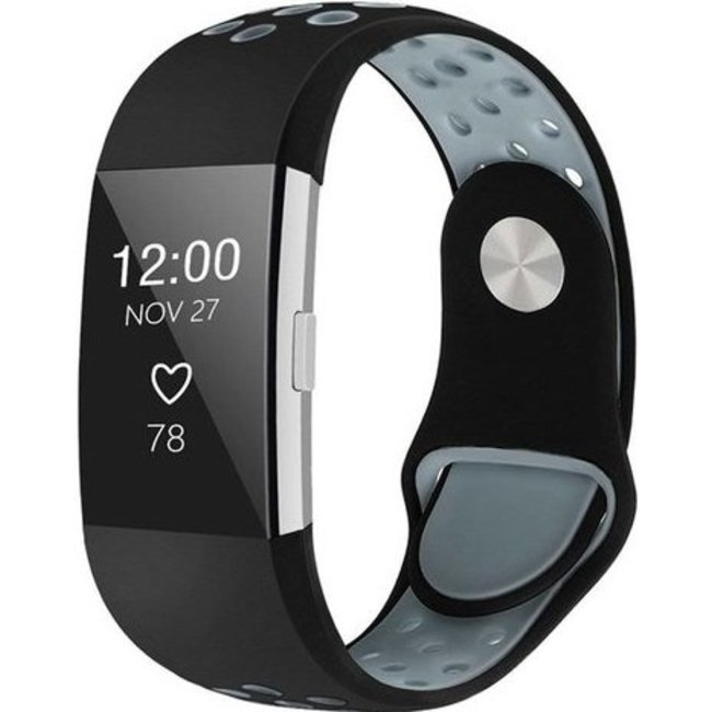 Merk 123watches Fitbit charge 2 sport band - black gray