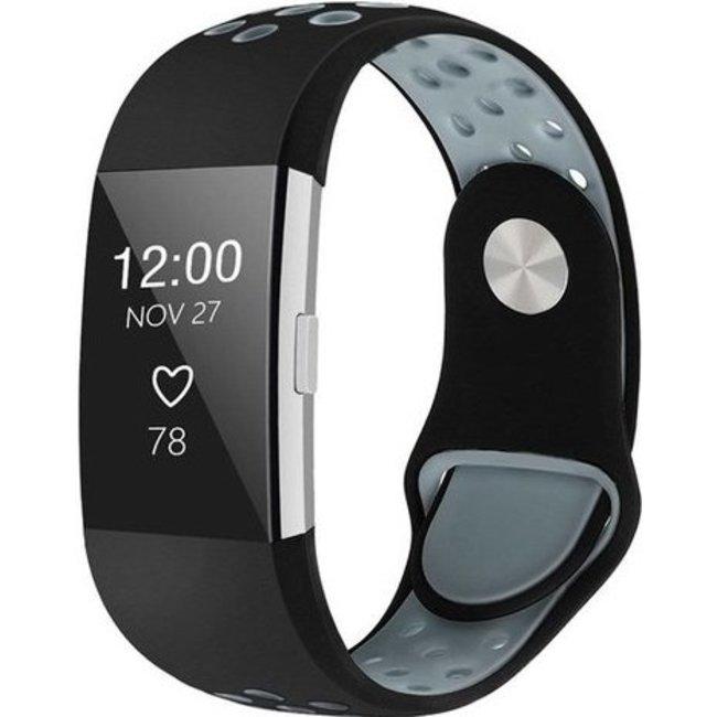 Merk 123watches Fitbit charge 2 sport band - zwart grijs