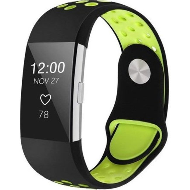 Merk 123watches Fitbit charge 2 sport band - black green