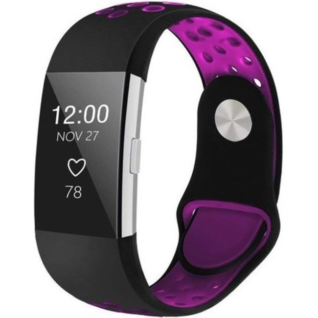 Merk 123watches Fitbit charge 2 sport band - black purple