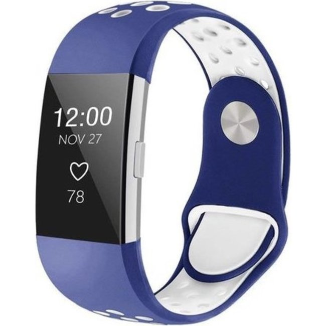 Fitbit charge 2 sport band - donkerblauw wit
