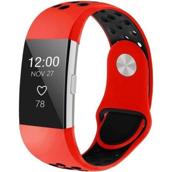 123Watches Fitbit charge 2 sport band - red black