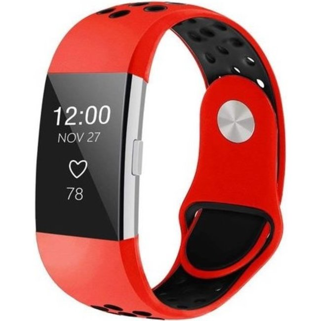 Fitbit charge 2 sport band - red black