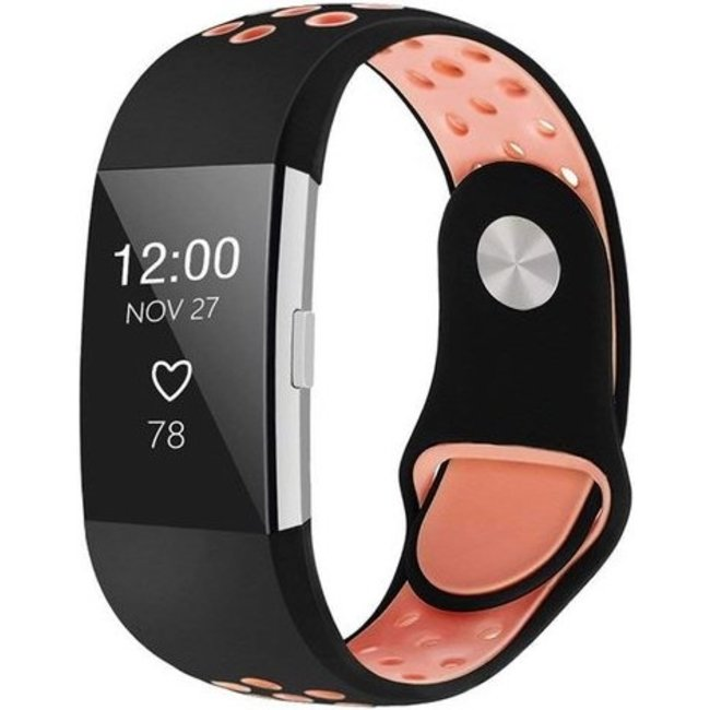 Fitbit charge 2 sport band - black pink