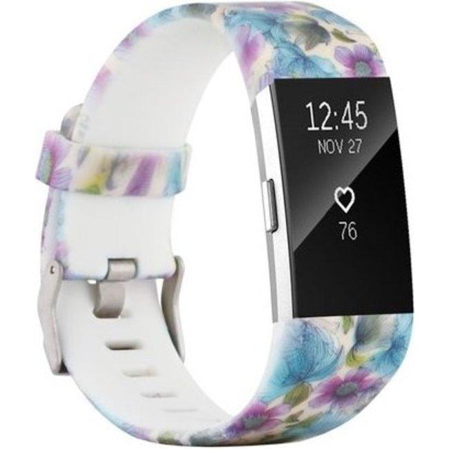 Merk 123watches Fitbit charge 2 print sport band - blauwe bloem