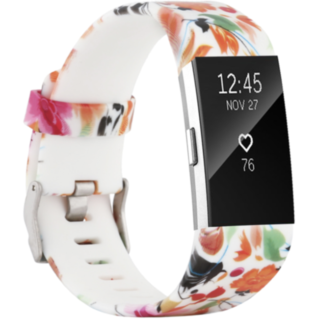 Fitbit charge 2 print sport band - bloemen mix