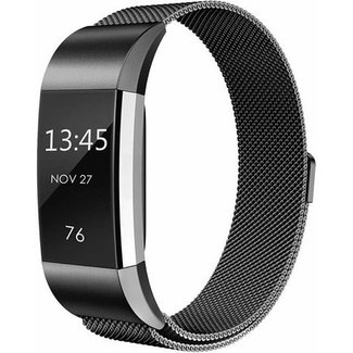 Merk 123watches Fitbit charge 2 milanese band - black